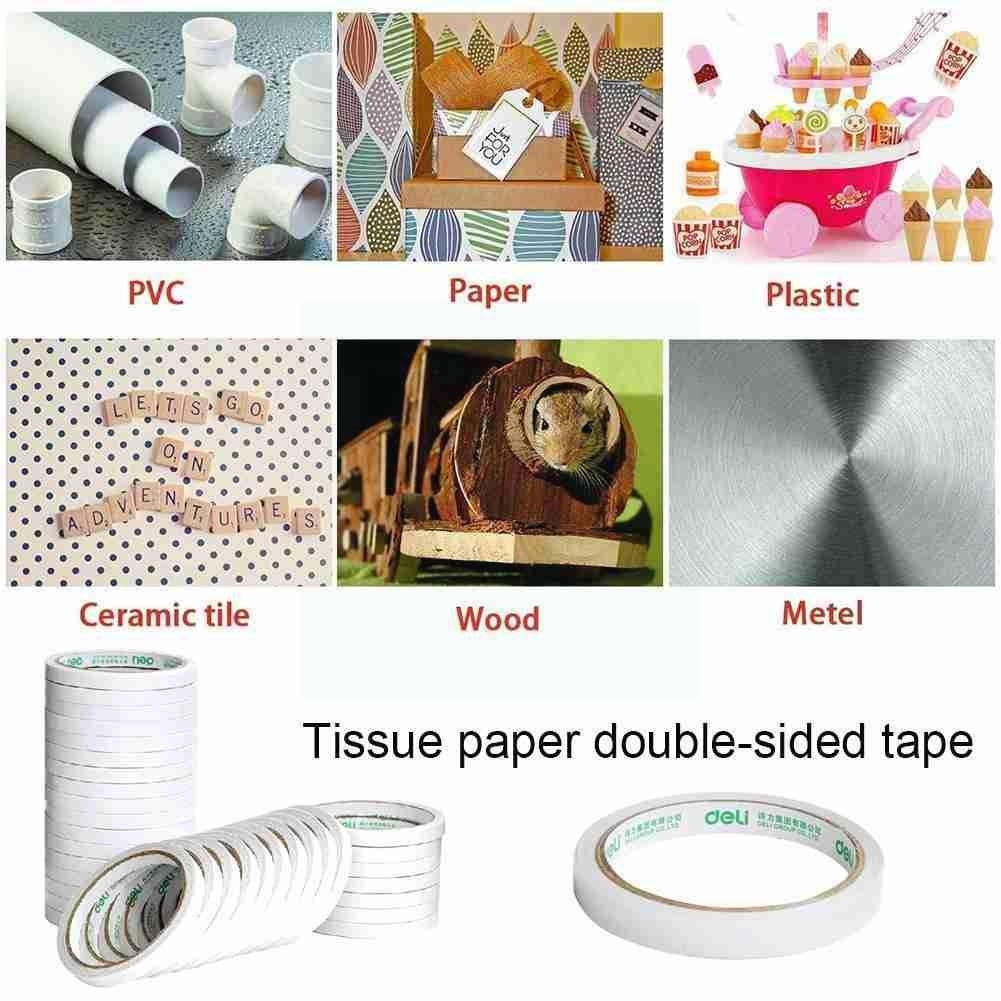 10m Double Sided Tape White Super Strong Double Sided Craft Strong Thin Paper Gift-wrap 12mm Adhesive Tape Ultra Diy Z8l9 double sided cotton paper tape 12mm 9 1m white hot melt cotton paper tape home double sided adhesive school office stationery