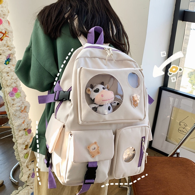 Diehe Muti-Pocket Women Backpack Nylon School Bag Backpacks for Teenage Girls Fashion College Studen