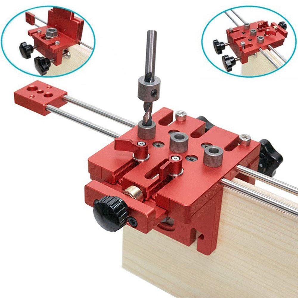 3 in 1 Dowel Drilling Jig Drilling Aid Dowel Gauge Drilling Template Guide Kit Woodworking Holes Positioning Jig Joiner System
