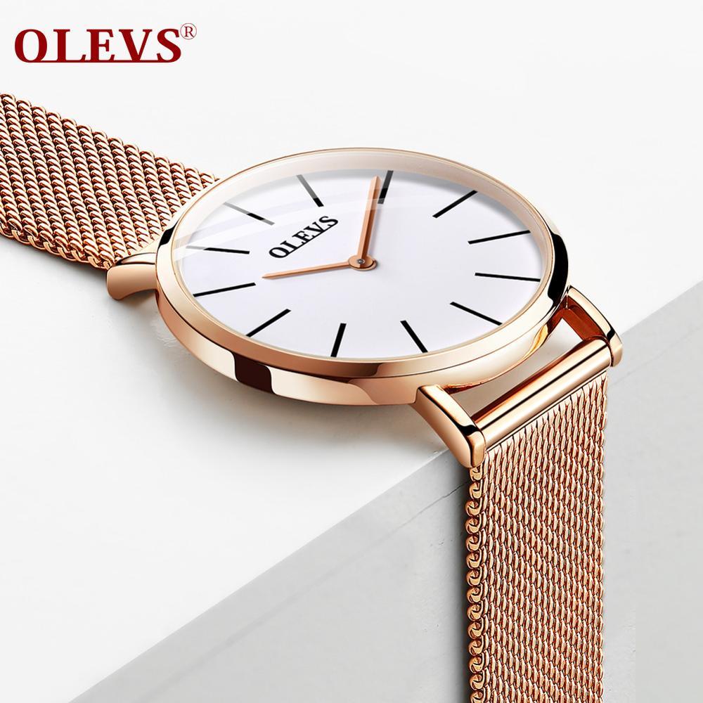 Olevs 女性超薄型クォーツ時計ブランド腕時計カジュアルビジネスメッシュベルトの時計は防水女性時計リロイ