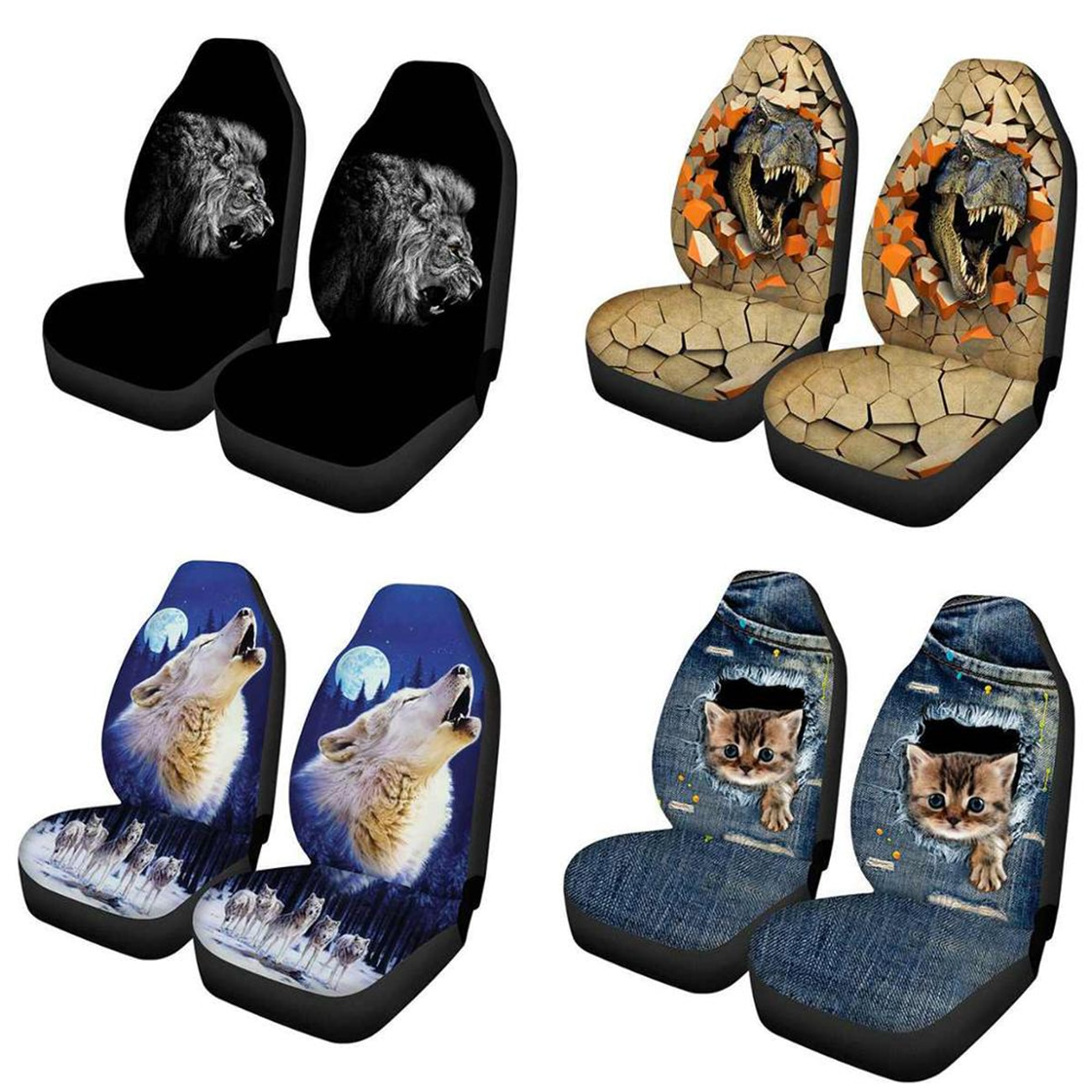 Car Styling Auto Seat Cover Full Protector Interior Accessories 3D Animal Wolf Printing Universal Covers