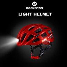Rockbros-casco de bicicleta con luz Led para hombre y mujer, gorro de seguridad para bicicleta de montaña y carretera, recargable vía USB, transpirable