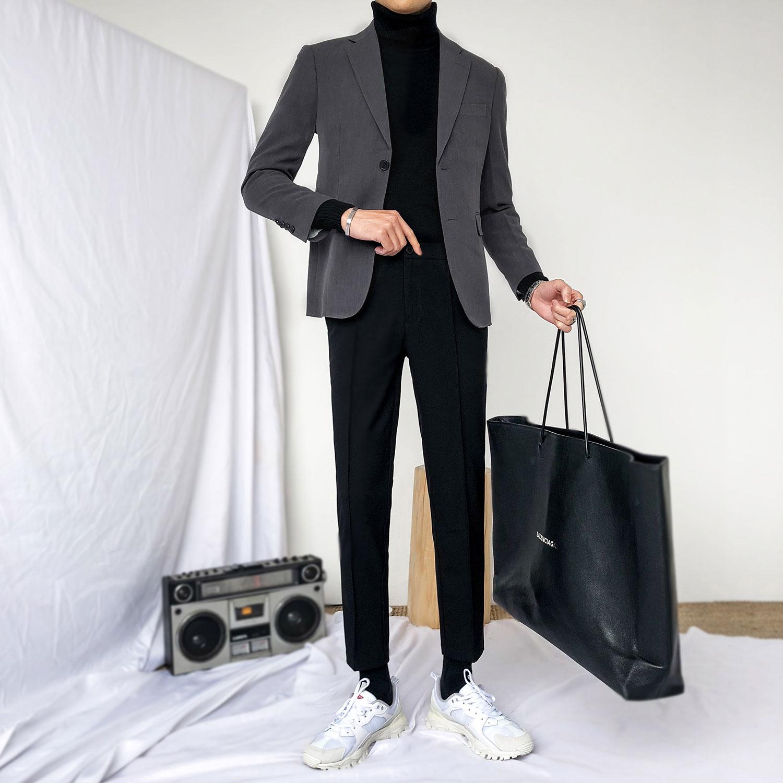 Blazer de moda coreana para hombre, chaqueta masculina de manga larga, informal,...