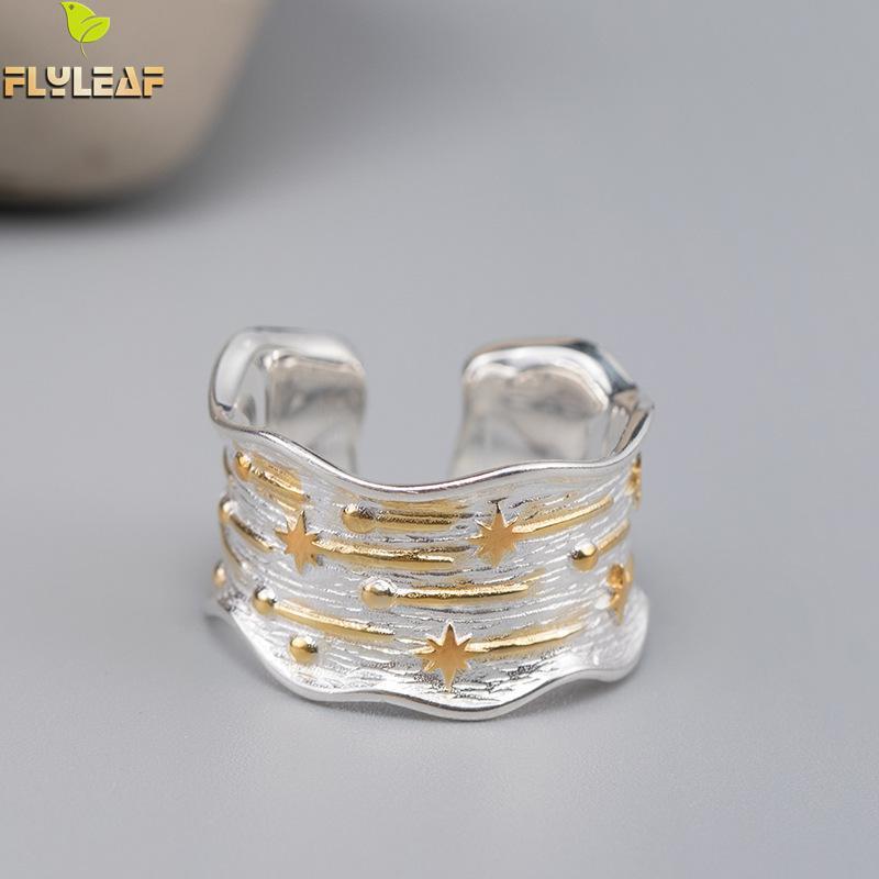 Flyleaf-خاتم نيزك من الفضة الإسترليني عيار 925 للنساء ، خاتم ، ذهب ، فضة استرلينية ، نمط Ins ، دش ، سطح عريض ، مجوهرات راقية ، مفتوح ، جودة عالية