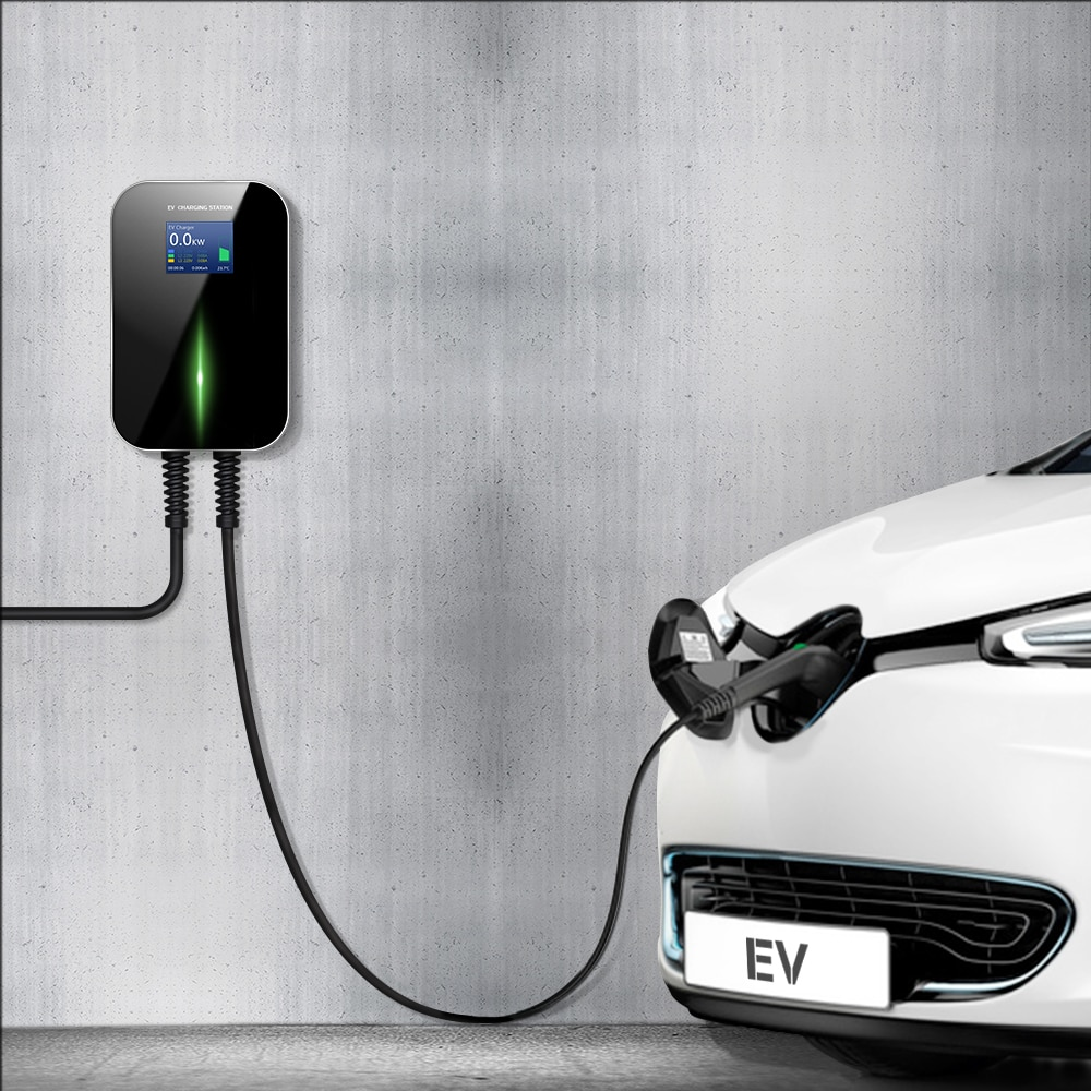 32A 3 Phase EV Charger Wallmounted with RFID Electric Vehicle Charging Station EVSE Wallbox Type 2 Cable IEC 62196-2 for BMW i3 enlarge