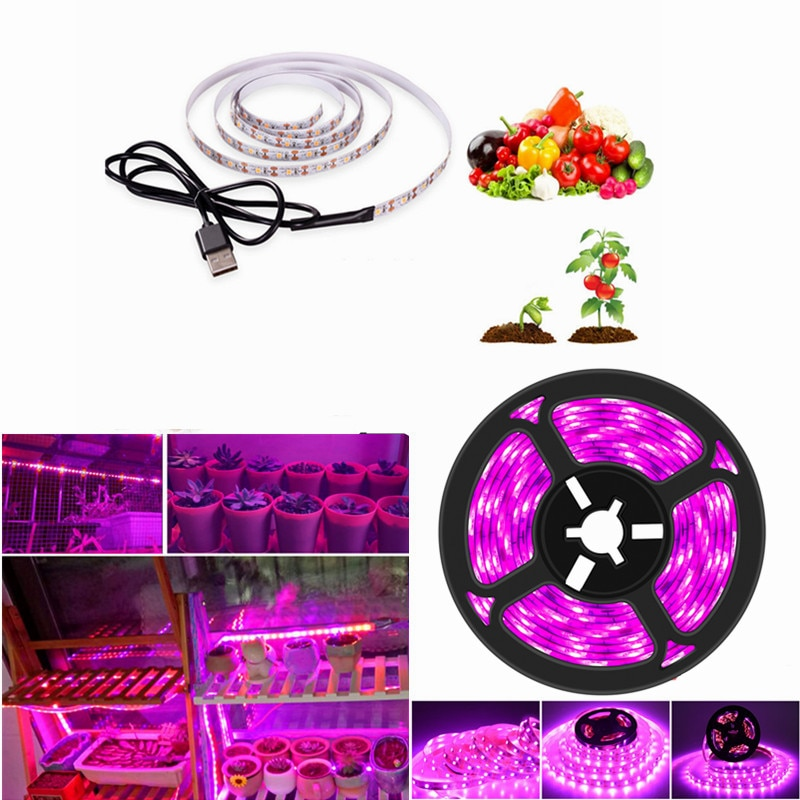 3m led grow light strip full spectrum uv lamps for plants waterproof phyto tape with adapter and switch for greenhouse grow tent Phytolamp for Plant LED Grow Light Full Spectrum USB Led Strip 0.5m 1m 2m 3m DC5V 2835 LED Phyto Tape for Seed Plants Grow Light