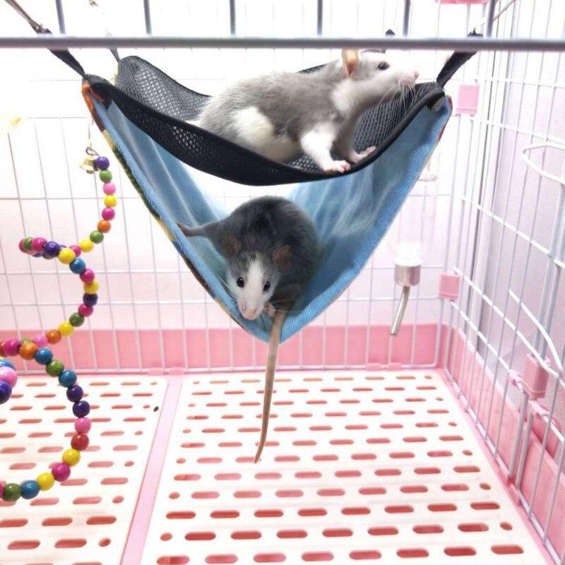 Gancho hamaca hámster Chinchilla doble capa transpirable malla colgante cama nido pequeño mascota comodidad saco de dormir nuevo