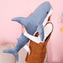 Venda quente tubarão pelúcia gigante engraçado macio mordida tubarão animal de pelúcia recheado brinquedo travesseiro almofada apaziguar pelúcia crianças presente 45-140cm