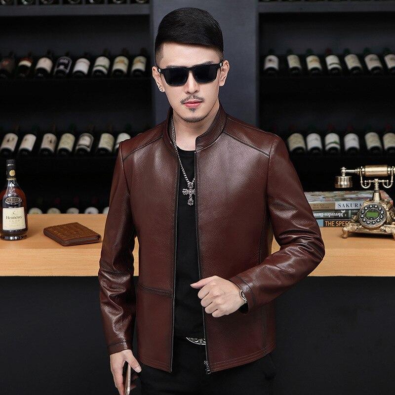 Jaqueta de couro genuíno jaquetas de couro de pele carneiro roupas dos homens 2020 primavera outono casaco gola jaqueta de couro 7008 yy371
