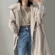 Korean Trench Coat Windbreaker Chic Personalized Hoodie Buckle Zipper Drawcord Waist Closure Design