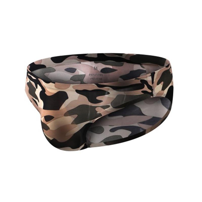 Camouflage Briefs Sexy Men Low Waist Ice Silk Underwear Fashion Man Breathable Seamless Bikini 3D Bulge U Pouch Camo Panties