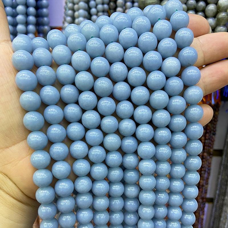 Aaaa Natuursteen Kralen Blauw Angelite Ronde Losse Spacer Kralen Voor Sieraden Maken Diy Armband Ketting 15 ''Strand 6/8/10/12 M