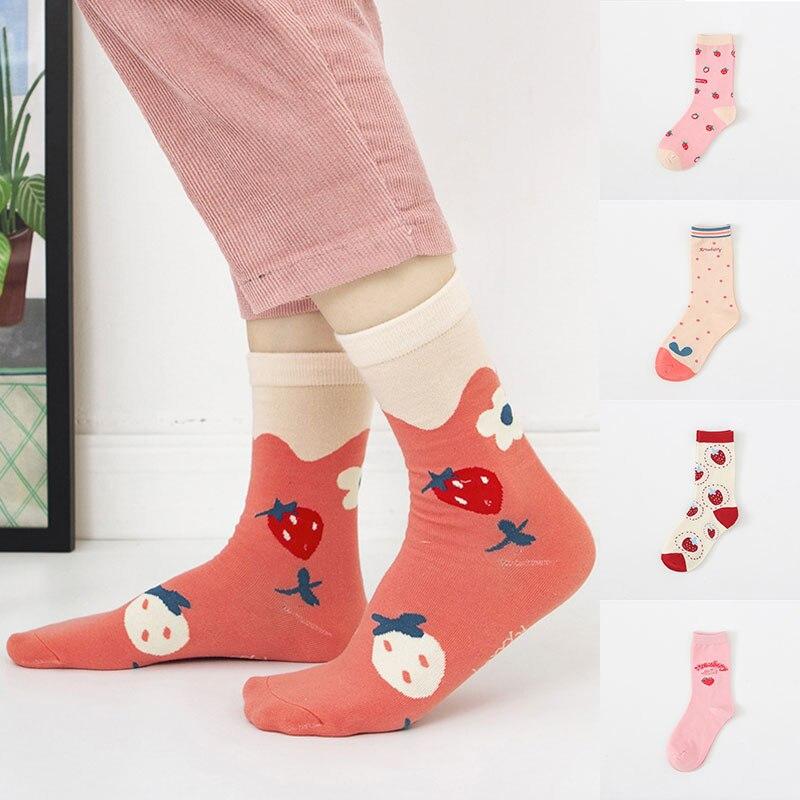 Calcetines divertidos suaves para mujer, calcetines de tubo medio para niñas, calcetines femeninos bonitos rosas con leche de fresa, calcetines calientes de algodón informales