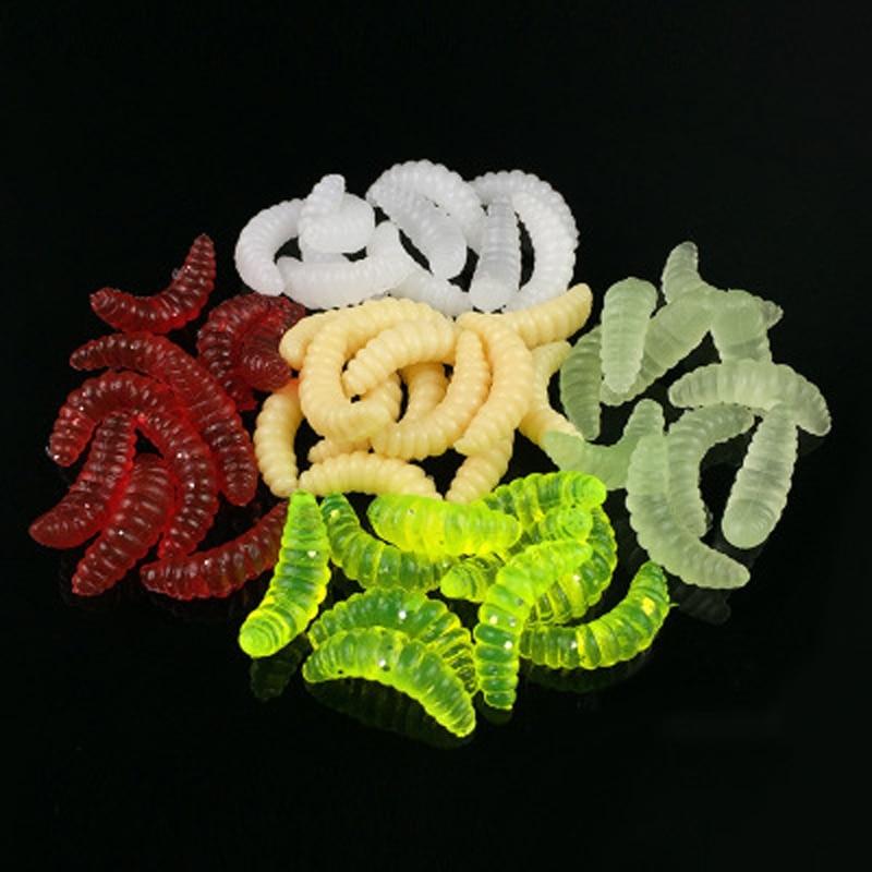 Poetryyi iscas de pesca macias, iscas de minhocas cheiro de peixe que brilham pro, iscas macias vivas cheiro de peixe 2cm 0.3g 10 pçs/lote
