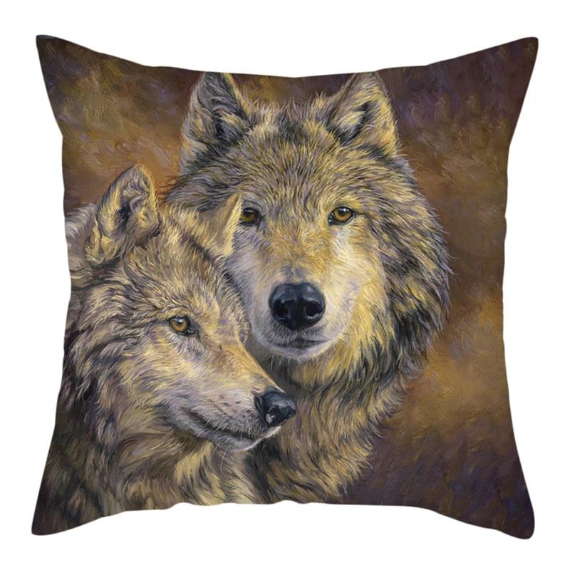 Nanacoba lobo salvaje foto almohada Animal feroz cubierta de cojín estampada de...