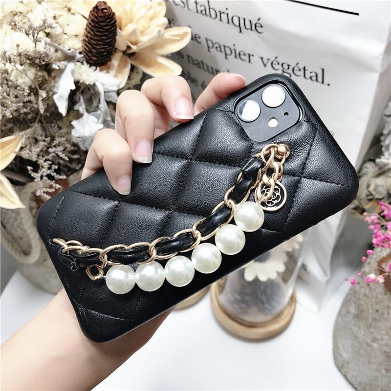 100pcs Wrist Band Hand Strap Flower Pendant Lambskin Leather Case Cover For Iphone 12 Mini 11 Pro XS Max XR X 8 7 Plus SE