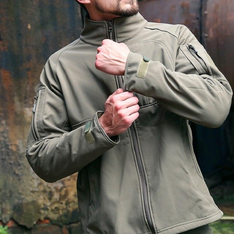 Мужская куртка в стиле милитари, теплая ветрозащитная водонепроницаемая куртка из мягкой кожи акулы, куртка командира, ветровка