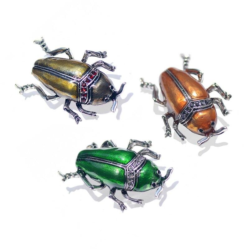 Morkopela Inesect émail Broche Vintage scarabées broches et broches strass Broche vêtements bijoux pour femmes Broche accessoires