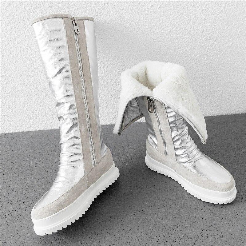 MORAZORA de talla grande 34-43 nuevas botas de cuero genuino de vaca para mujer con cremallera de lana natural botas de nieve cálidas botas de Invierno para mujer hasta la rodilla