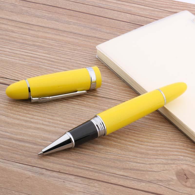 Gran oferta, hermoso, lacado en amarillo con adorno plateado, bolígrafo de 0,5mm, en promoción, JINHAO 159