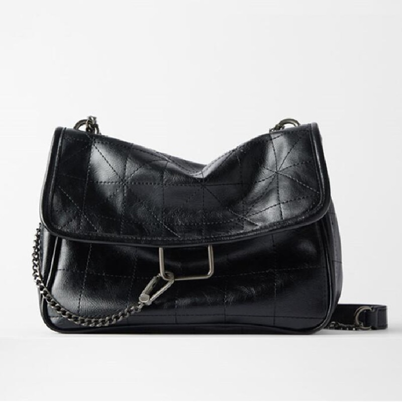 New Rhombus Black Rock Soft Single Shoulder Oblique Span Chain Bag Luxury Handbags for Woman PU Leather Messenger Bag Satchels