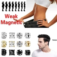 1pc stainless steel mens womens magnetic gold black rose gold stud earrings for non piercing cz hypoallergenic 5mm