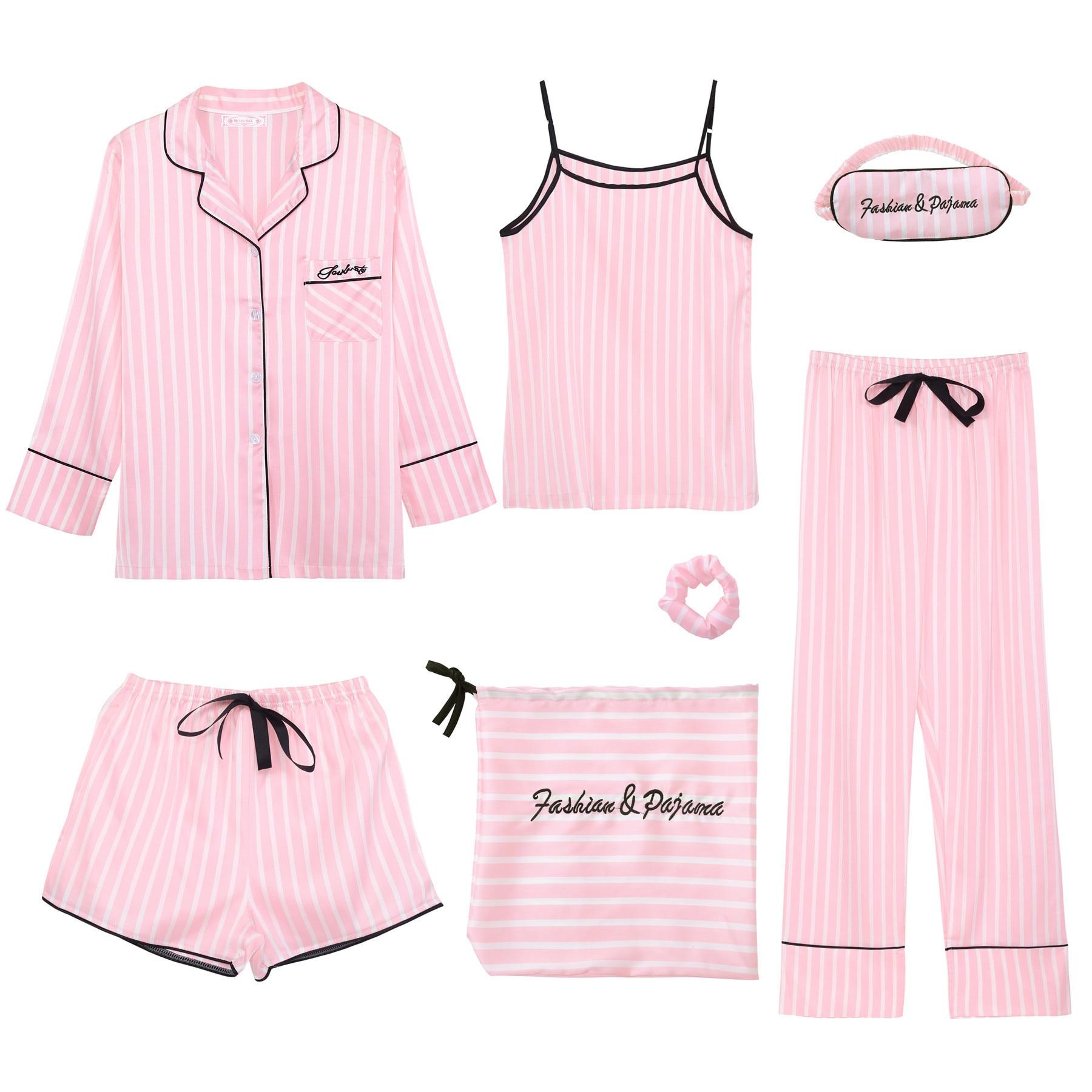 Fanceey Striped Silk Women's Pajamas 7pcs Robe Sets Long Sleeve Sleepwear Women Trouser Suits Four S