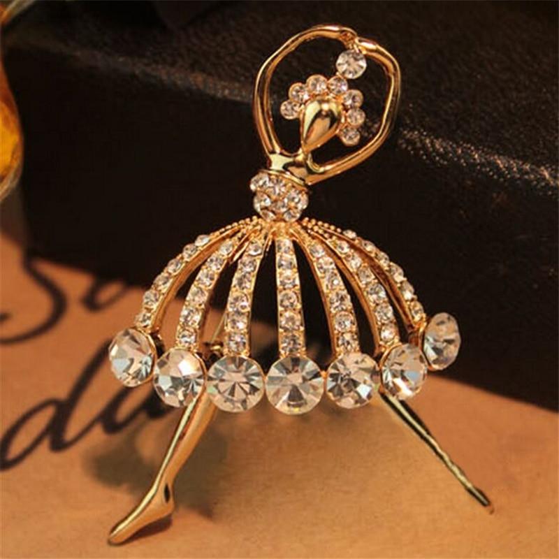 Moda Ballet chica temperamento Metal cristal broches de cuello de alfiler alfileres para mujer broche alfileres joyería novia bodas