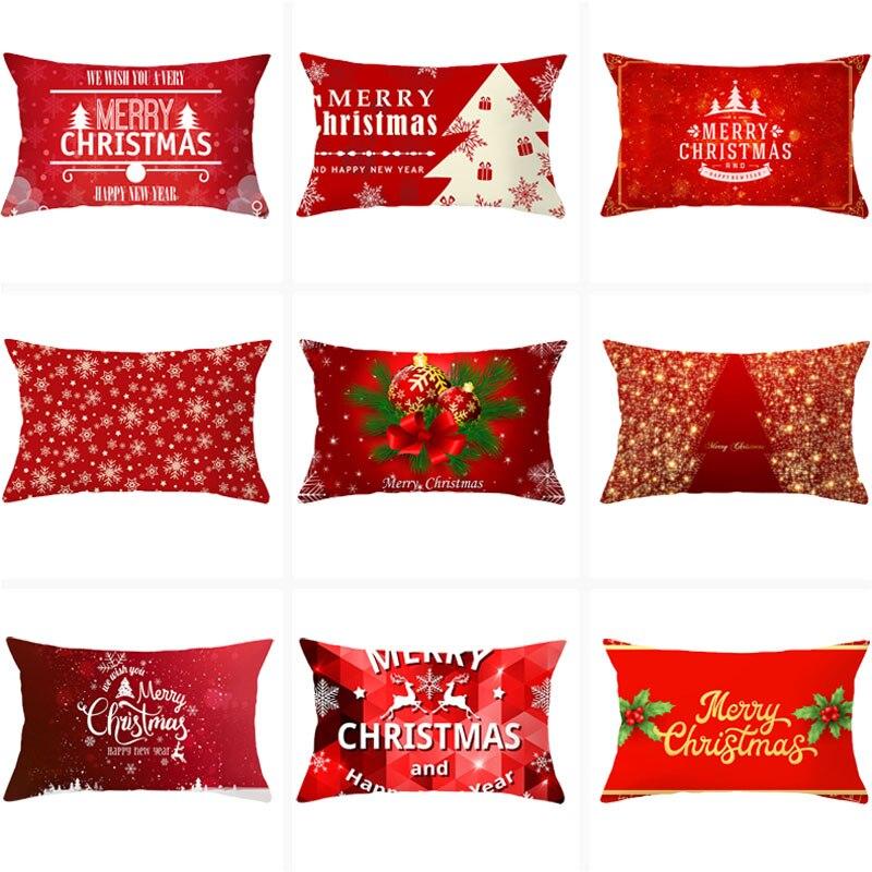 Funda de cojín de Navidad 30x50, almohada con estampado de alces y árbol, cojines decorativos para sofá, decoración para el hogar, fundas de almohada