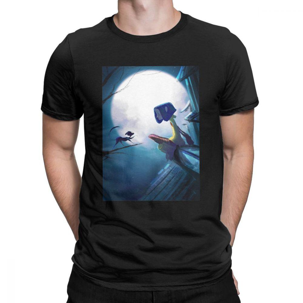 Camisetas para hombre Coraline Vintage de manga corta gato espalda árbol escalofriante Camiseta cuello redondo ropa algodón diseños camisetas