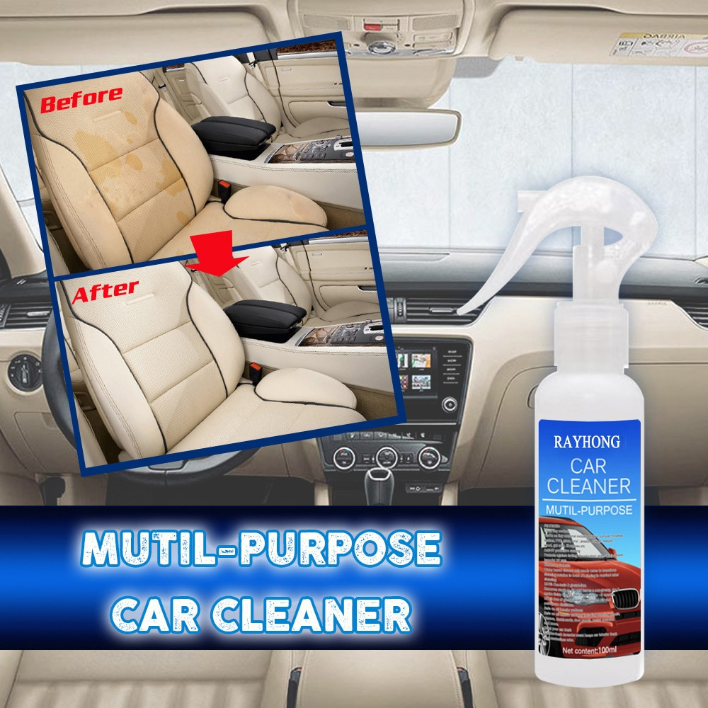 30/100ML Car Interior Cleaning Agent Ceiling Cleaner Leather Flannel Woven Fabric Water-Free Auto Roof Cleaning Spray