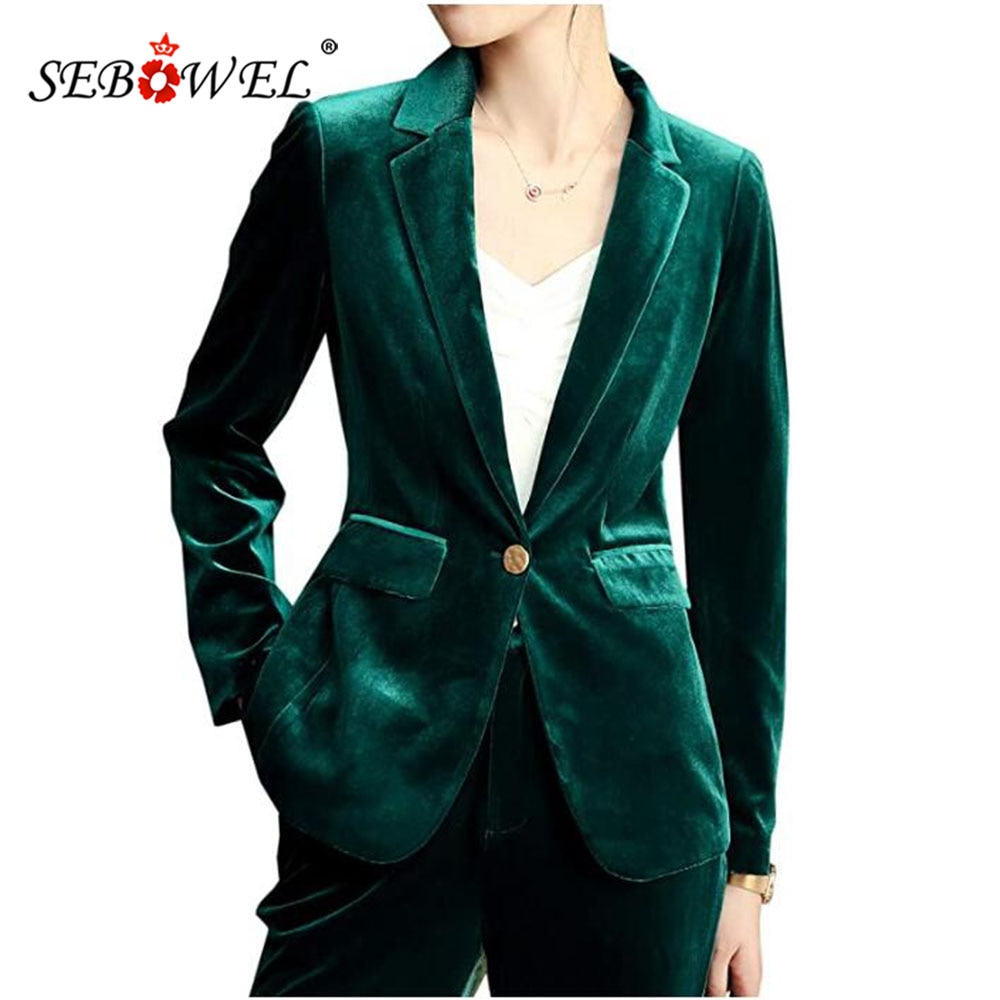 SEBOWEL المخملية السترة دعوى المرأة معطف الموضة الجديدة الربيع الخريف مكتب سيدة العمل بليزر جاكيتات عالية الجودة حجم كبير S-4XL