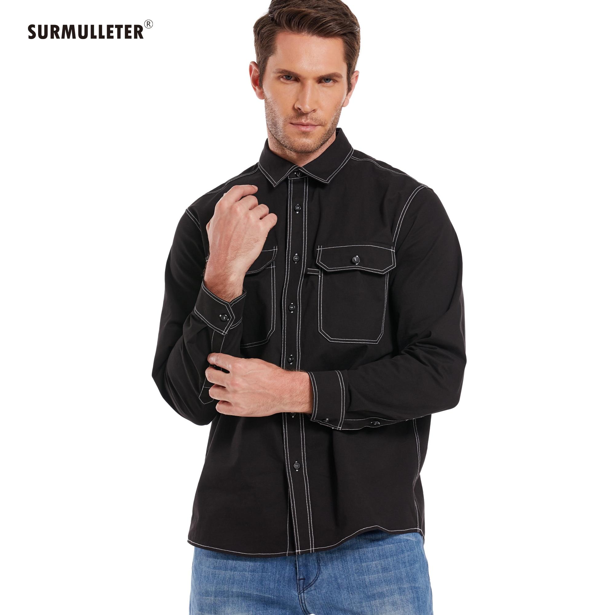 Thickening Type Casual Shirt Men Light  Jacket 100%Cotton Long Sleeve safari Style New Brand SURMULLETER