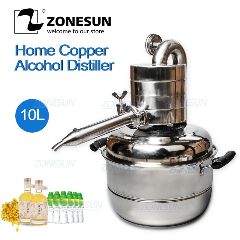ZONESUN 10L destilador Bar instalaciones domésticas vino Limbeck agua destilada máquina para elaborar Vodka de gran capacidad cerveza Alcohol Whisky