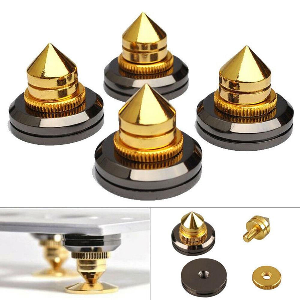 4 Uds a prueba de golpes a prueba altavoz Spike oro soporte pies cono cojín de Base para Subwoofer de CD de Audio amplificador de altavoz de alta fidelidad Accesorios