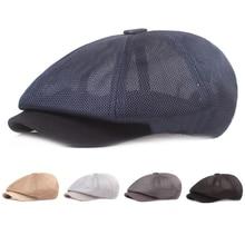Summer Mesh Newsboy Caps 56-58cm Breathable Casual Outdoor Retro Beret Hats Octagonal hat Fashion So