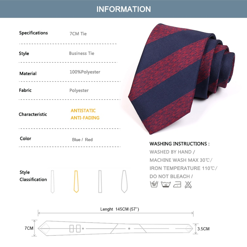 Men's Fashion 7CM Red / Blue Striped Ties High Quality Gentleman Business Ties For Men Business Suit Work Necktie with Gift Box