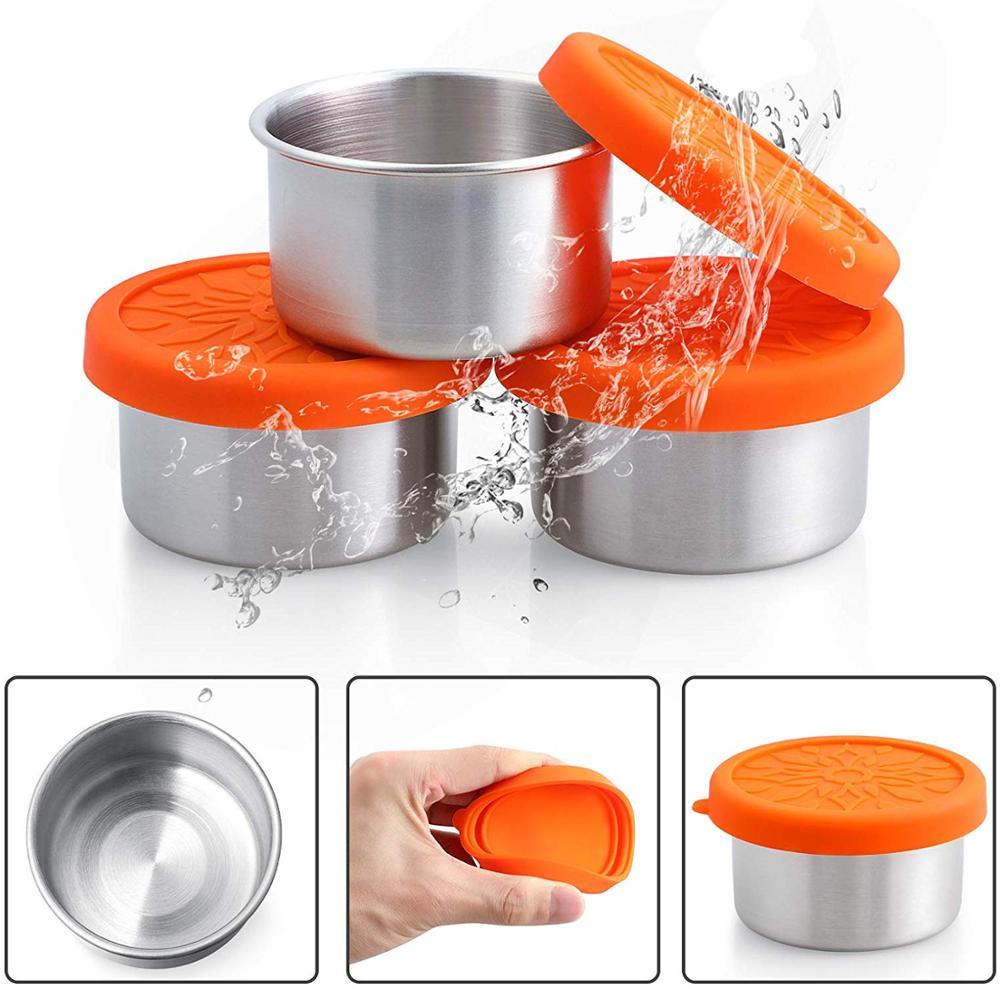 Conjunto de contenedores para aderezo de ensalada Realman-3 envases para condimentos de acero inoxidable de 3,4 oz con tapas de silicona a prueba de fugas jarras para alimentos para bebés