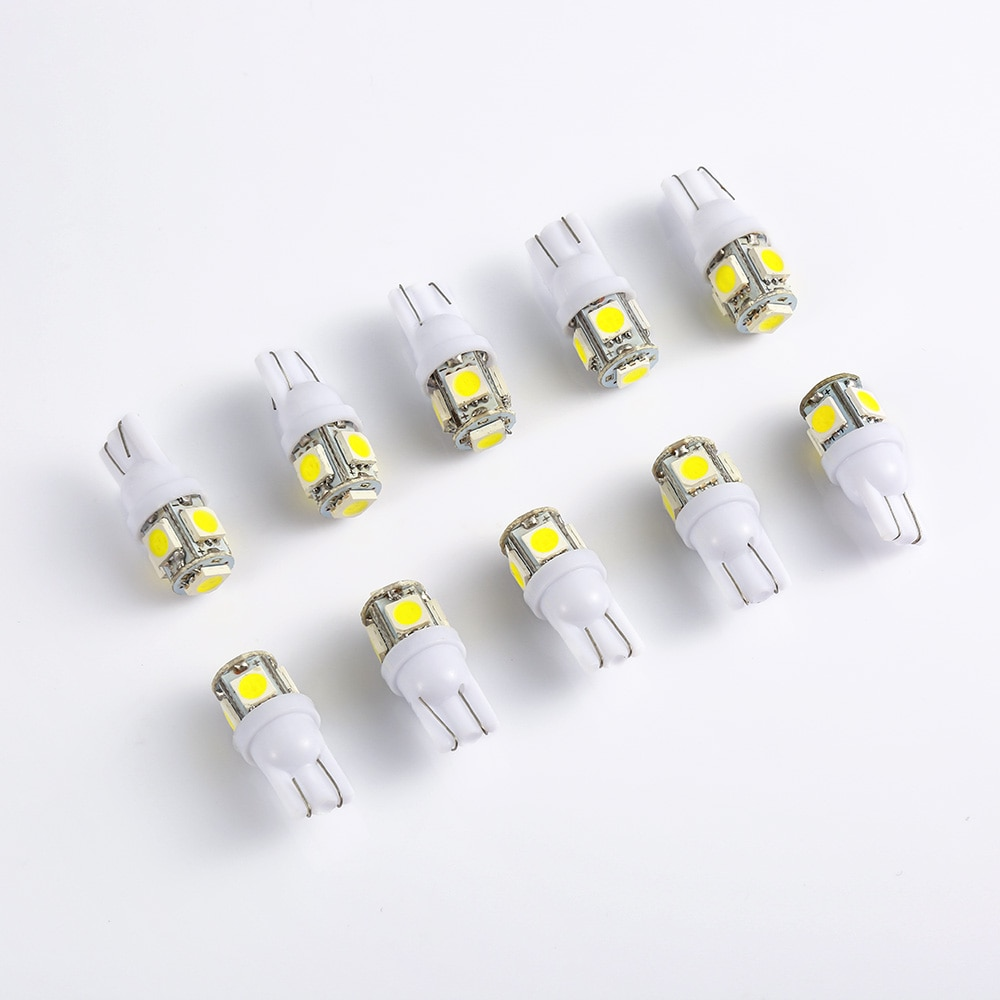 10PCS Car Led 12v T10 Light T10 5050 Super White 194 168 w5w T10 Led Parking Bulb Auto Wedge Clearance Lamp Car Styling