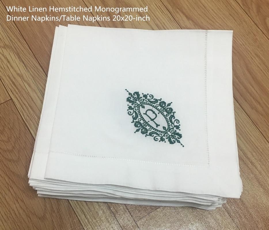 "Set of 12 Fshion Monogrammed Dinner Napkins White linen Hemstitch Table Napkins 20""x20""Ladder Embroidered Initial P Tea Napkins"