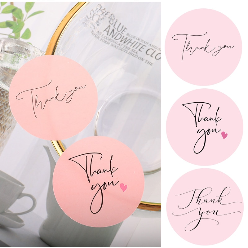 120pcs Thank You Stickers Pink Stickers for Company Giveaway Birthday Party Favors Labels Mailing Supplies Festival