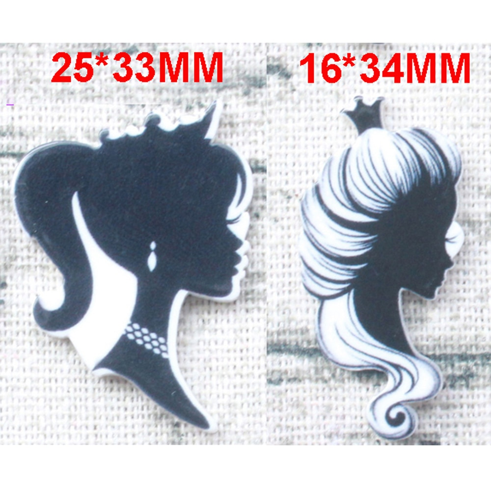 50 pçs 2 estilos misturados coroa preta beleza meninas flatback resina cabochão planar diy artesanato embelezamento para centros de arco de cabelo