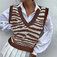 v neck sweater vest women korean style knitted jumpers zebra print sleeveless sweaters knit tank top waistcoat autumn chic tops