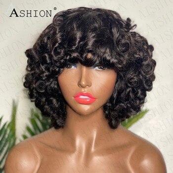 Short Fumi Curly Pixie Cut Wig Human Hair Brazilian Curly Bob Glueless Human Hair Wigs for Women No Lace Wigs Black Color