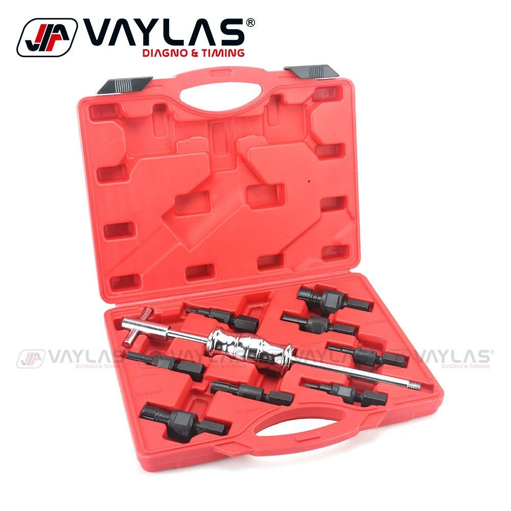 9 pçs conjunto de ferramentas extrator rolamento interno buraco deslizante martelo extrator hub ferramenta remoção rolamento