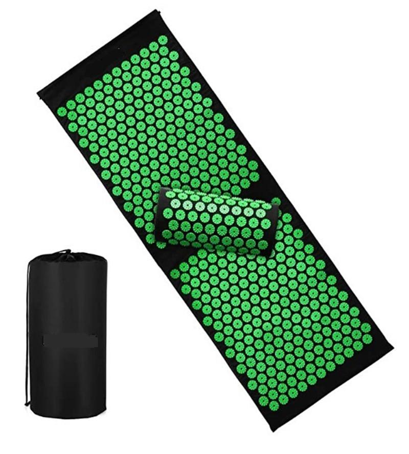 Almofada de Massagem Esteira e Travesseiro Alívio do Estresse Yoga Acupressão Conjunto Pescoço Volta pé Massageador Dor Acupuntura Almofada 120×4 0cm – 65x40cm