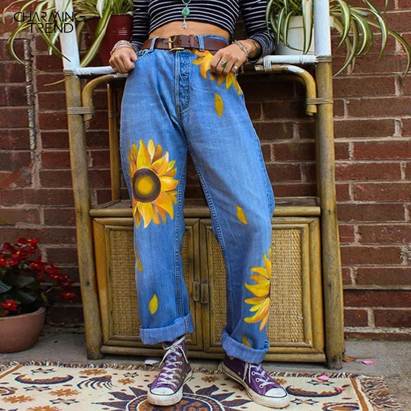 Джинсы женские с подсолнухами, свободные брюки из денима, уличная одежда в стиле ретро, Женские джинсы-бойфренды, Осень-зима 2020