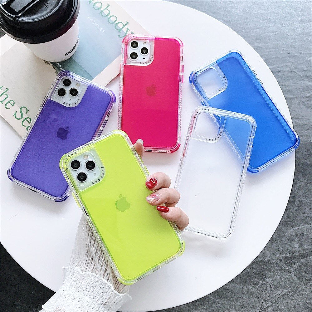 Get 100Pcs 3 In 1 Candy Color Clear Phone Case For iPhone 12 11 Pro Max XR X XS Max 7 8 6S Plus SE 2020 Soft Shockproof Back Cover