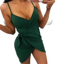 Femmes Sexy Spaghetti sangle sans manches robes 2019 nouveau été femmes col en v Mini robe irrégulière noir vert robe irrégulière
