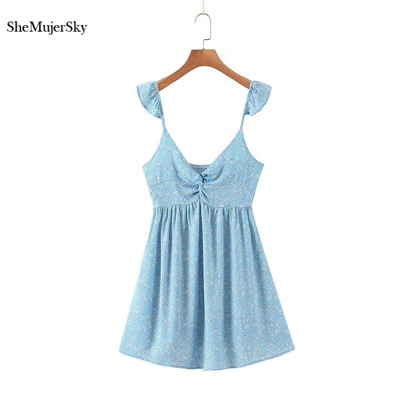 SheMujerSky الصيف الأزرق السباغيتي حزام البسيطة اللباس الأزهار طباعة عارية الذراعين أكمام فساتين 2020 عبر الخامس الرقبة اللباس